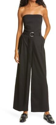 Frame Linen Blend Strapless Belted Jumpsuit