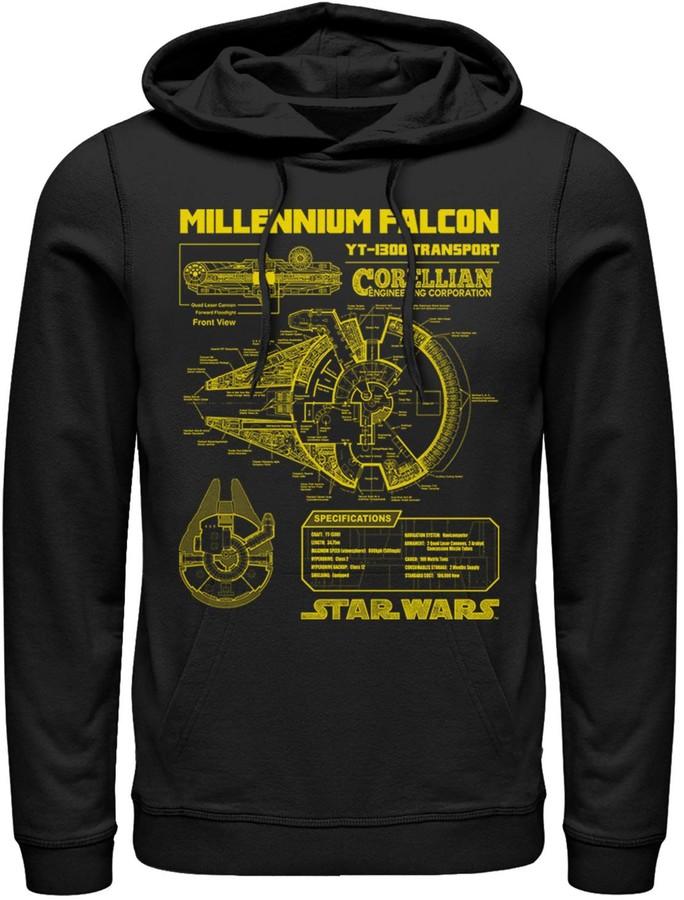 Star Wars Licensed Character Men's Millennium Falcon Schematics Hoodie