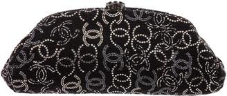 Chanel Black Fabric Swarovski Crystal Clutch