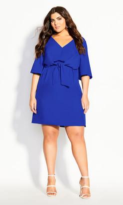 City Chic Knot Front Dress - cobalt