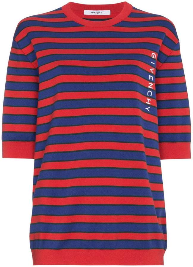 Givenchy striped logo print knitted top