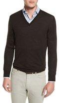 Ermenegildo Zegna High-Performance Merino Wool V-Neck Sweater, Brown