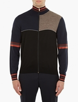 Paul Smith Navy Zip-Up Panelled Wool Cardigan