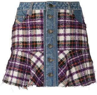 Diesel Button-Up Panelled Mini Skirt