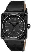 Torgoen Swiss Men's Analogue Watch T26106 with GMT, Phantom/Natural Dial and Black Italian Leather Strap