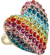 Betsey Johnson Pave Rainbow Heart Stretch Ring Ring