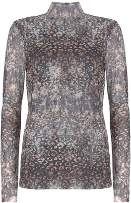 Mint Velvet Abstract Leopard Mesh Top
