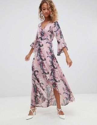 Glamorous floral maxi wrap dress-Pink