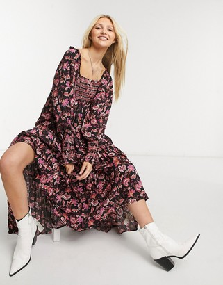 Free People Sweet Escape shirred puff-sleeved maxi dress in black