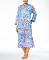 Miss Elaine Zip-Front Brushed-Back Satin Mid-Calf Robe