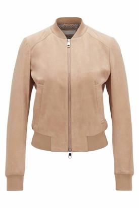 HUGO BOSS Womens Jorchid Blouson-Style Suede Jacket with Monogram-Print Lining Beige