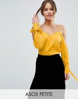 Asos Cold Shoulder Top With Cuff and Tie