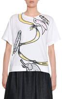 Marni Ribbon & Charms Large-Print Cotton Crewneck T-Shirt