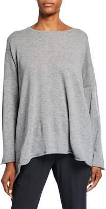 eskandar Cashmere Bateau-Neck Cascading-Side Sweater