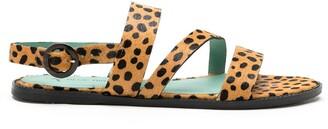 Blue Bird Shoes Leopard Print Flat Sandals