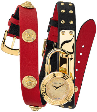 Versace Medusa Lock Icon Wrap Watch in Red | FWRD