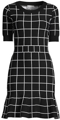 Milly Windowpane Jacquard Mini A-Line Dress