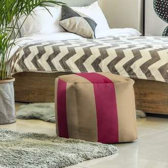 Fly London East Urban Home Boston Stripes Cube Ottoman East Urban Home Upholstery Color: Gold/Maroon/Gold