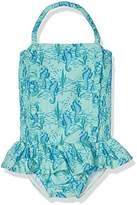 Rachel Riley Girl's Seahorse Ruched Swimsuit