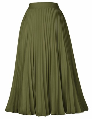 Kate Kasin Womens Vintage Solid High Waist Pleated Swing A-Line Skirt Black#659 Small