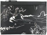 Lanvin graphic illustrated clutch - men - Calf Leather/Polyester - One Size