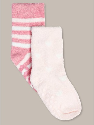 M&Co Heart and stripe fluffy socks two pack (newborn-24mths)