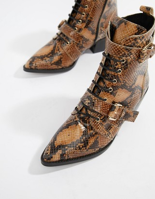 Office Ambassador leather snake lace up two buckle ankle boot
