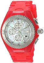 Technomarine Women's Quartz Watch with White Dial Chronograph Display and Pink Silicone Strap TM-115260