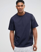 Asos Perforated Woven Tee In Navy