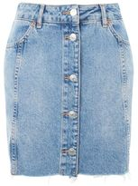 Topshop Moto button through mini skirt
