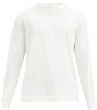 Y-3 Logo-print Long-sleeved Cotton-jersey T-shirt - White