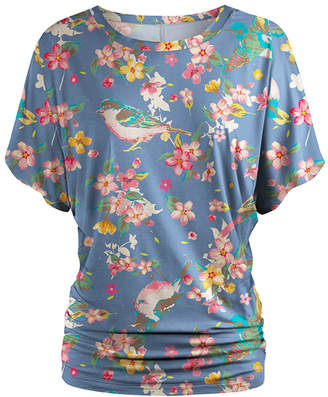 Udear UDEAR Women's Blouses Print - Periwinkle & Pink Floral Dolman Top - Women & Plus