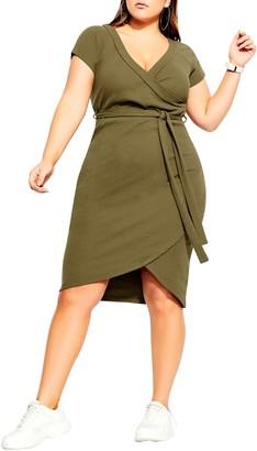 City Chic Lounge Around Faux Wrap Dress