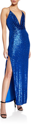 Jay Godfrey Milena Sequin Cowl-Neck Gown with High Slit