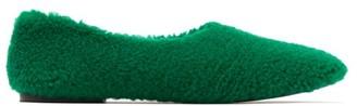 Fur Deluxe - Shearling Ballerina Flats - Womens - Green