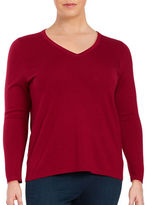 Lord & Taylor Plus Merino Wool V-Neck Sweater