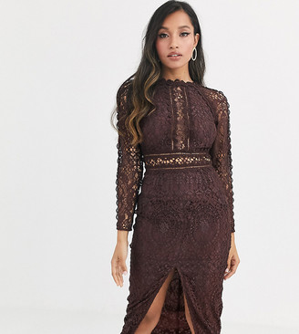ASOS DESIGN Petite long sleeve pencil dress in lace with geo lace trims