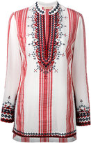 Tory Burch embroidered striped top - women - Cotton/Acrylic/Wool - 4