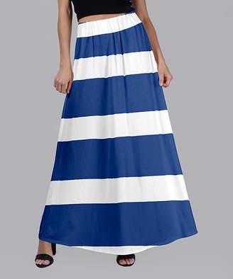Beyond This Plane Women's Maxi Skirts WHT - Blue & White Stripe Maxi Skirt - Women & Plus