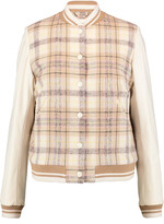 Chloé Plaid wool-blend and leather bomber jacket