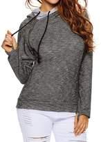 Kalin L Women Relaxed Double Hooded Oblique Zipper Pullover Hoodie Sweatshirt