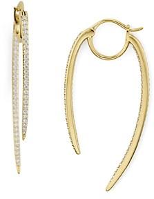 Nadri Curved Spike Hoop Earrings