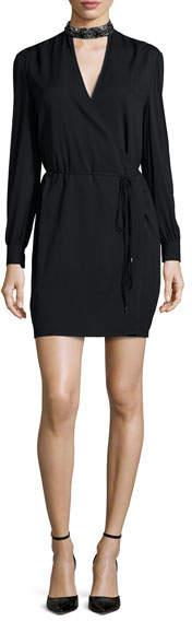 Haute Hippie Embellished Neck Tie-Waist Dress, Black