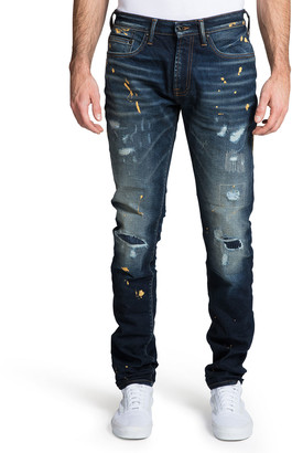 PRPS Men's Windsor Distressed Jeans with Paint Splatter