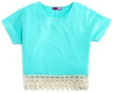 Aqua Girls' Crocheted-Hem Cropped Top - Sizes S-XL