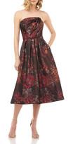 Kay Unger New York Claudia Floral Jacquard Strapless Midi Dress