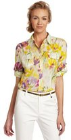 Calvin Klein Women's Printed Button Up Roll Sleeve Shirt