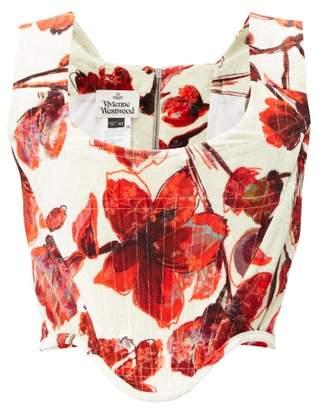 Vivienne Westwood Harlet Floral-printed Velvet Corset - Womens - Cream Multi