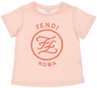 Fendi Rubberized Logo Cotton Jersey T-shirt
