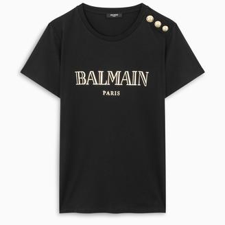 Balmain Black/gold Metallic Vintage Logo t-shirt